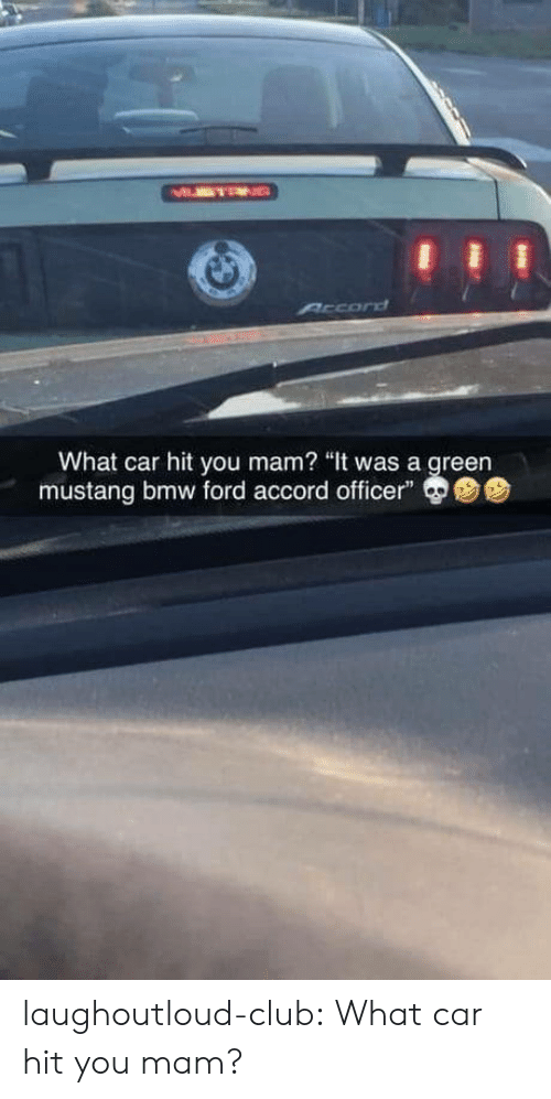 """Bmw, Club, and Tumblr: MMTEN  Arcord  What car hit you mam? """"It was a green  mustang bmw ford accord officer"""" laughoutloud-club:  What car hit you mam?"""