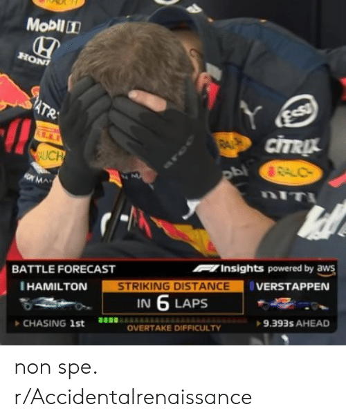 Forecast, Hamilton, and Aws: Mobil1  HON  Y  CITRUL  ATR  RAL  LL  AUCH  BRALC  M  nIT  OMA  Insights powered by aws  BATTLE FORECAST  STRIKING DISTANCE  IN 6 LAPS  VERSTAPPEN  HAMILTON  9.393s AHEAD  OVERTAKE DIFFICULTY  CHASING 1st non spe. r/Accidentalrenaissance