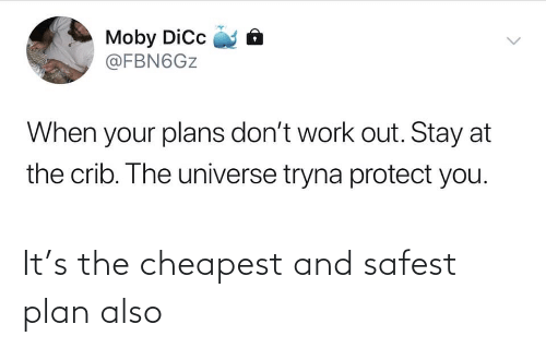 stay: Moby Dic  @FBN6GZ  When your plans don't work out. Stay at  the crib. The universe tryna protect you.  <> It's the cheapest and safest plan also
