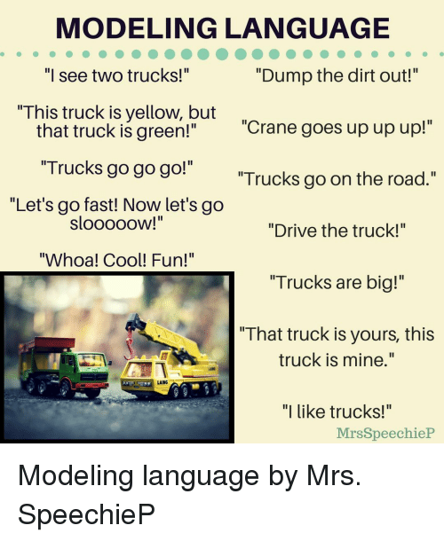 "Aing: MODELING LANGUAGE  ""Dump the dirt out!""  Il  I see two trucks!  This truck is yellow, but  ""Crane goes up up up!""  that truck is green!""  ""Trucks go go go!""  ""Let's go fast! Now let's go  Trucks go on the road.""  SloooOOW!  ""Drive the truck!""  ""Whoa! Cool! Fun!""  ""Trucks are big!""  "" That truck is yours, this  truck is mine.""  AING  ""I like trucks!""  MrsSpeechieP Modeling language by Mrs. SpeechieP"