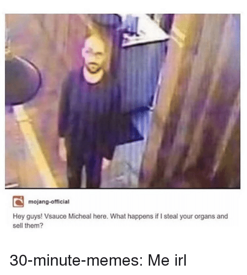Memes, Tumblr, and Blog: mojang-official  Hey guys! Vsauce Micheal here. What happens if I steal your organs and  sell them? 30-minute-memes:  Me irl