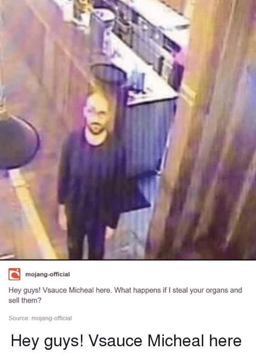 Source, Them, and What: mojang-official  Hey guys! Vsauce Micheal here. What happens if I steal your organs and  sell them?  Source: mojang-official Hey guys! Vsauce Micheal here