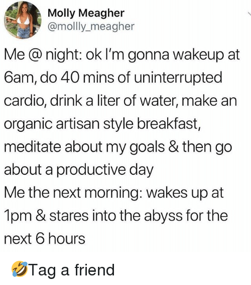 meditate: Molly Meagher  @mollly_meagher  Me @ night: ok I'm gonna wakeup at  6am, do 40 mins of uninterrupted  cardio, drink a liter of water, make an  organic artisan style breakfast,  meditate about my goals & then go  about a productive day  Me the next morning: wakes up at  1pm & stares into the abyss for the  next 6 hours 🤣Tag a friend