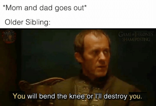 Of Thrones: Mom and dad goes out*  Older Sibling:  GAME of THRONES  SHAMEPOSTING  You will bend the knee or lll destroy you.
