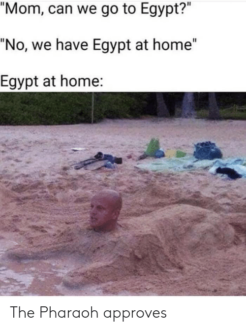 "Approves: ""Mom, can we go to Egypt?""  ""No, we have Egypt at home""  Egypt at home: The Pharaoh approves"