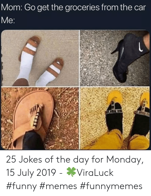 Funny, Memes, and Jokes: Mom: Go get the groceries from the car  Me: 25 Jokes of the day for Monday, 15 July 2019 - 🍀ViraLuck #funny #memes #funnymemes