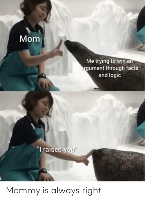 "Raised: Mom  Me trying to win an  argument through facts  and logic  ""I raised you"" Mommy is always right"