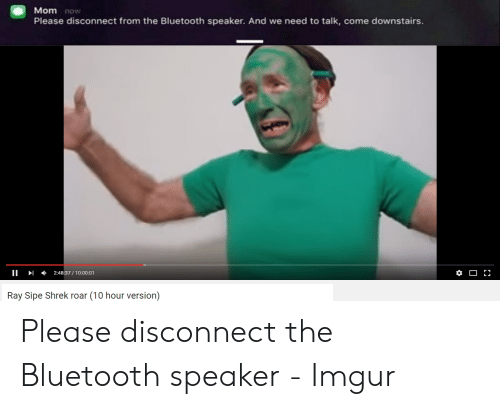 Bluetooth, Shrek, and Imgur: Mom now  Please disconnect from the Bluetooth speaker. And we  need to talk, come downstairs.  2:48:37/10:00:01  Ray Sipe Shrek roar (10 hour version)