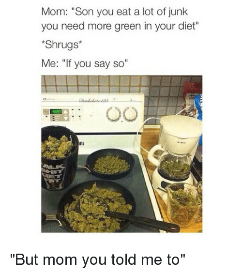 "Mom Son: Mom: ""Son you eat a lot of junk  you need more green in your diet""  Shrugs  Me: ""If you say so ""But mom you told me to"""