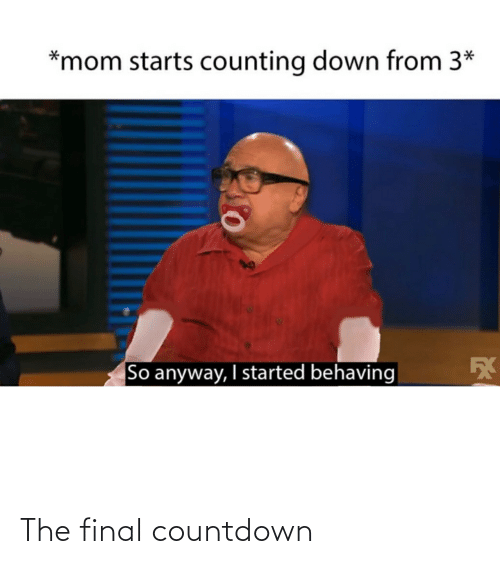 the final countdown: *mom starts counting down from 3*  So anyway, I started behaving The final countdown