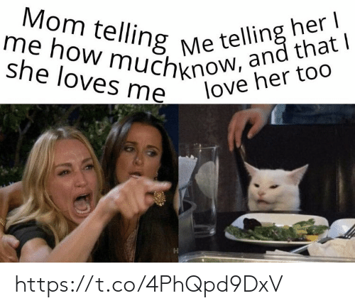 Love, Memes, and Mom: Mom telling Me telling her  me how muchknow, and that I  she loves me  love her too https://t.co/4PhQpd9DxV