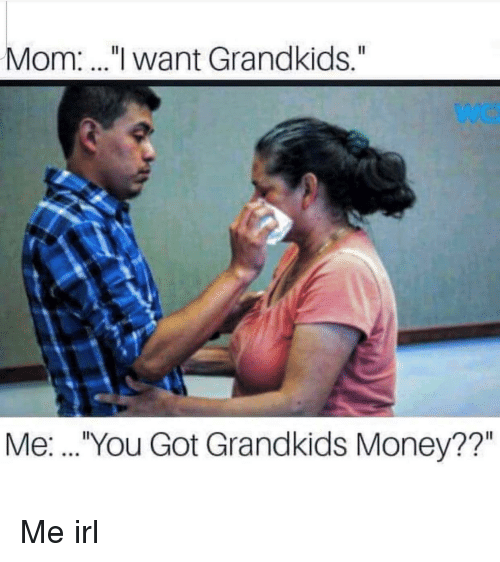 "Money, Irl, and Me IRL: Mom:.."" want Grandkids.""  Me:. .. You Got Grandkids Money??"""