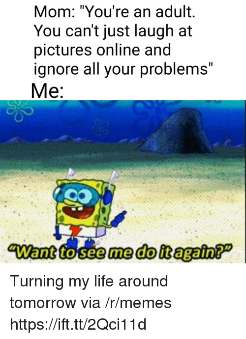 "Just Laugh: Mom: ""You're an adult.  You can't just laugh at  pictures online and  ignore all your problems""  Me:  ""Want to seeme doit again? Turning my life around tomorrow via /r/memes https://ift.tt/2Qci11d"