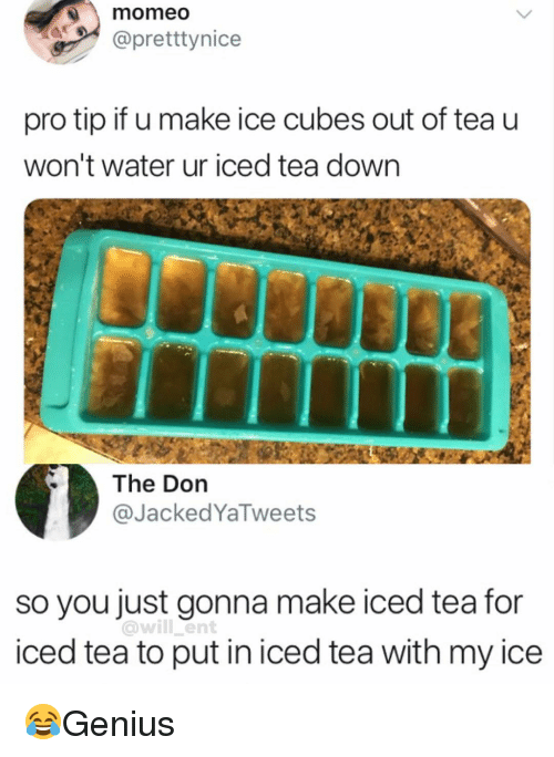 Ice Cubes: momeo  @pretttynice  pro tip if u make ice cubes out of tea u  won't water ur iced tea down  The Don  @JackedYaTweets  so you just gonna make iced tea for  iced tea to put in iced tea with my ice  @will ent 😂Genius