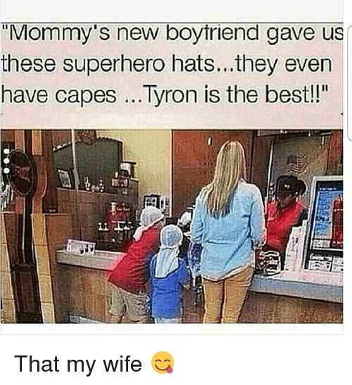 """Tyron: """"Mommy's new boytriend gave us  these superhero hats... they even  have capes...Tyron is the bestl!  Li That my wife 😋"""