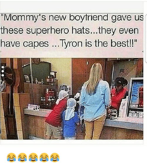 """Funny, Superhero, and Best: """"Mommy's new boytriend gave us  these superhero hats...they even  have capes Tyron is the best!!"""" 😂😂😂😂😂"""