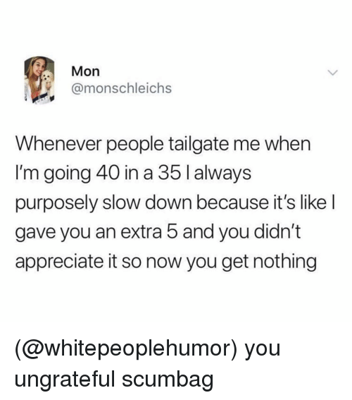 Appreciate, Dank Memes, and Scumbag: Mon  @monschleichs  Whenever people tailgate me when  I'm going 40 in a 35 I always  purposely slow down because it's like l  gave you an extra 5 and you didn't  appreciate it so now you get nothing (@whitepeoplehumor) you ungrateful scumbag