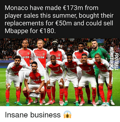 replacements: Monaco have made 173m from  player sales this summer, bought their  replacements for 50m and could sell  Mbappe for 180  CoM  co  co  7 Insane business 😱