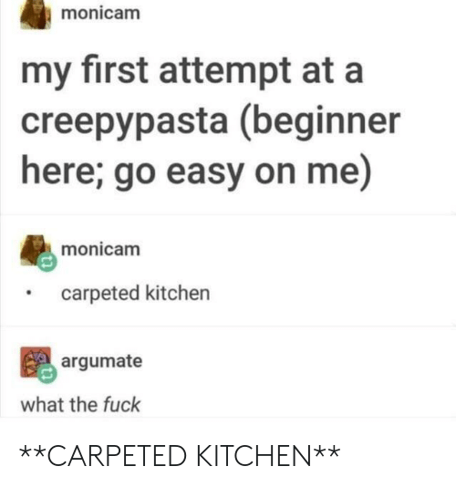 Creepypasta: monicam  my first attempt at a  creepypasta (beginner  here; go easy on me)  monicam  carpeted kitchen  argumate  what the fuck **CARPETED KITCHEN**