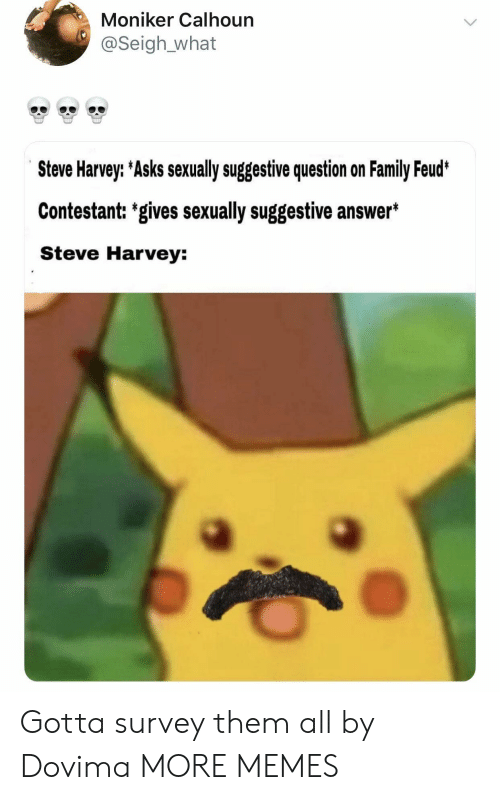 Dank, Family, and Family Feud: Moniker Calhoun  @Seigh_what  e33  e33  e33  Steve Harvey: Asks sexually suggestive question on Family Feud  Contestant: 'gives sexually suggestive answer*  Steve Harvey: Gotta survey them all by Dovima MORE MEMES