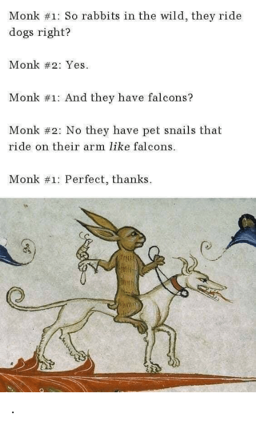 The Wild: Monk #1: So rabbits in the wild, they ride  dogs right?  Monk #2: Yes  Monk #1: And they have falcons?  Monk #2: No they have pet snails that  ride on their arm like falcons  Monk #1: Perfect, thanks .