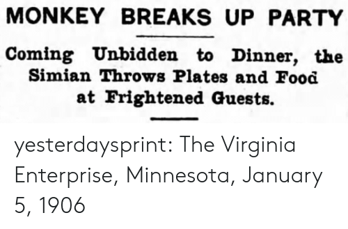 Monkey: MONKEY BREAKS UP PARTY  Coming Unbidden to Dinner, the  Simian Throws Plates and Food  at Frightened Guests. yesterdaysprint:   The Virginia Enterprise, Minnesota, January 5, 1906