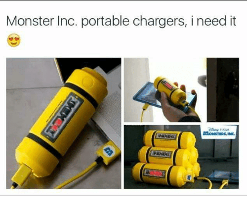 monster inc: Monster Inc. portable chargers, i need it  PIXAR  AONSTERS,INC.