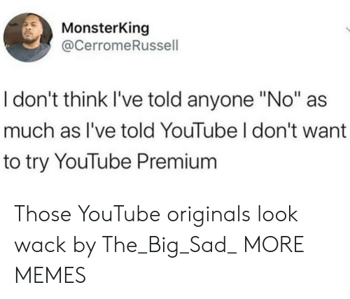 "Dank, Memes, and Target: MonsterKing  @CerromeRussell  I don't think I've told anyone ""No""  much as I've told YouTube I don't want  to try YouTube Premium Those YouTube originals look wack by The_Big_Sad_ MORE MEMES"