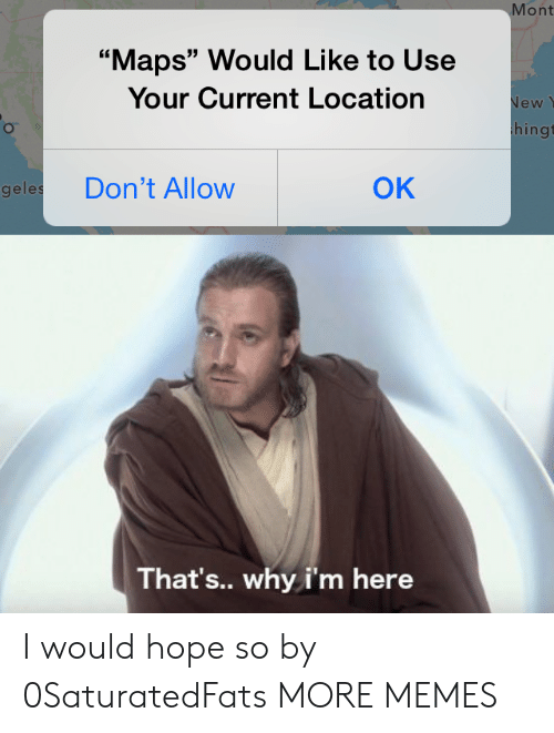 "Dank, Memes, and Target: Mont  ""Maps"" Would Like to Use  Your Current Location  New  hingt  OK  Don't Allow  geles  That's.. why i'm here I would hope so by 0SaturatedFats MORE MEMES"