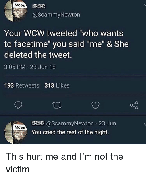 "WCW: Mood  @ScammyNewton  Your WCW tweeted ""who wants  to facetime"" you said ""me"" & She  deleted the tweet.  3:05 PM 23 Jun 18  193 Retweets 313 Likes  @ScammyNewton 23 Jun  Mood  You cried the rest of the night. This hurt me and I'm not the victim"