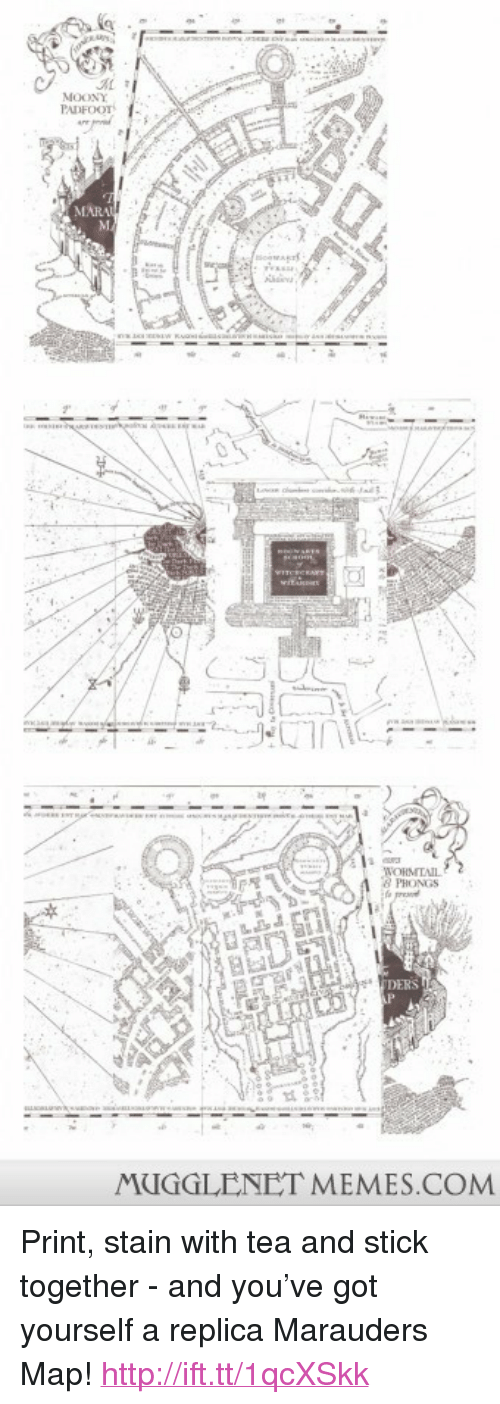 """Stick Together: MOONY  PADFOOT  MAR  PHONGS  DERS  MUGGLENET MEMES.COM <p>Print, stain with tea and stick together - and you&rsquo;ve got yourself a replica Marauders Map! <a href=""""http://ift.tt/1qcXSkk"""">http://ift.tt/1qcXSkk</a></p>"""