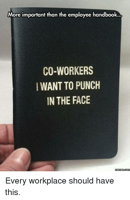 Face Meme: More important than the employee handbook...  CO-WORKERS  WANTTO PUNCH  IN THE FACE  Memes  com Every workplace should have this.