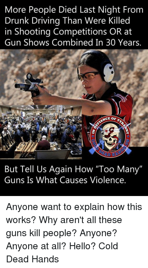 """Guns Kill: More People Died Last Night From  Drunk Driving Than Were Killed  in Shooting Competitions OR at  Gun Shows Combined In 30 Years.  But Tell Us Again How """"Too Many""""  Guns Is What Causes Violence. Anyone want to explain how this works? Why aren't all these guns kill people? Anyone? Anyone at all? Hello? Cold Dead Hands"""