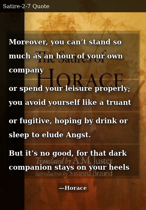 Good, Sleep, and Dark: Moreover, you can't stand so much as an hour of your own company or spend your leisure properly; you avoid yourself like a truant or fugitive, hoping by drink or sleep to elude Angst. But it's no good, for that dark companion stays on your heels