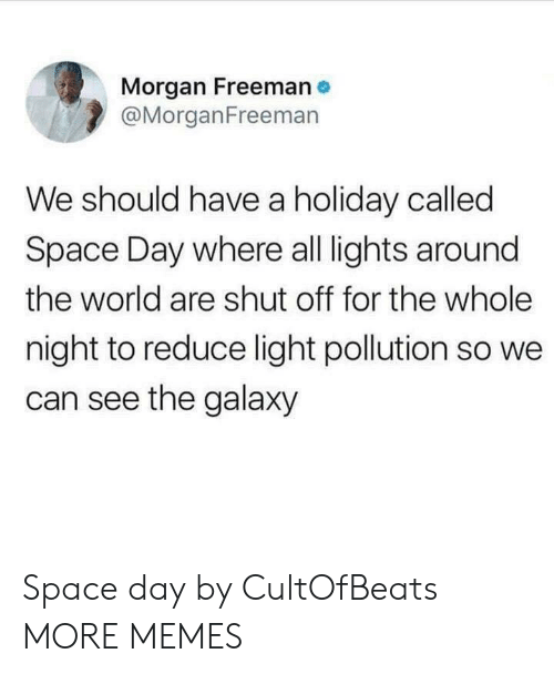 freeman: Morgan Freeman  @MorganFreemarn  We should have a holiday called  Space Day where all lights around  the world are shut off for the whole  night to reduce light pollution so we  can see the galaxy Space day by CultOfBeats MORE MEMES