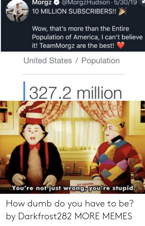 Subscribers: Morgz  @MorgzHudson 5/30/19  10 MILLION SUBSCRIBERS!!  Wow, that's more than the Entire  Population of America, I can't believe  it! TeamMorgz are the best!  United States / Population  327.2 million  IL  TS  INE AMAZING  You're not just wrong,youre stupid. How dumb do you have to be? by Darkfrost282 MORE MEMES