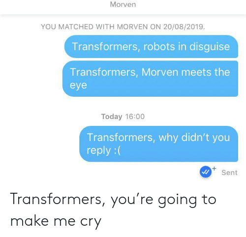 Robots: Morven  YOU MATCHED WITH MORVEN ON 20/08/2019.  Transformers, robots in disguise  Transformers, Morven meets the  eye  Today 16:00  Transformers, why didn't you  reply:(  +  Sent Transformers, you're going to make me cry