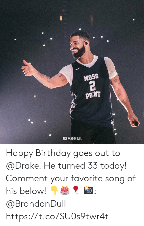 Birthday, Drake, and Happy Birthday: MOSS  POINT  BRANDONDULL Happy Birthday goes out to @Drake! He turned 33 today! Comment your favorite song of his below! 👇🎂🎈  📸: @BrandonDull https://t.co/SU0s9twr4t