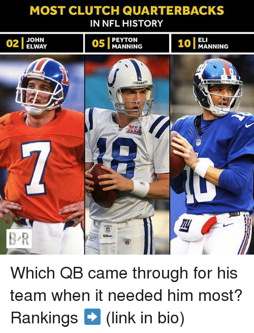 Clutchness: MOST CLUTCH QUARTERBACKS  IN NFL HISTORY  OWA  05 MANNING 10 MANNING  ELI  101 MANNING  02  2JOHN  PEYTON  ELWAY  B-R  UH on Which QB came through for his team when it needed him most? Rankings ➡️ (link in bio)