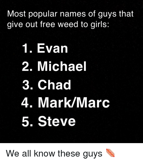 Girls, Weed, and Free: Most popular names of guys that  give out free weed to girls:  1. Evarn  2. Michael  3. Chad  4. Mark/Marc  5. Steve We all know these guys 🌭