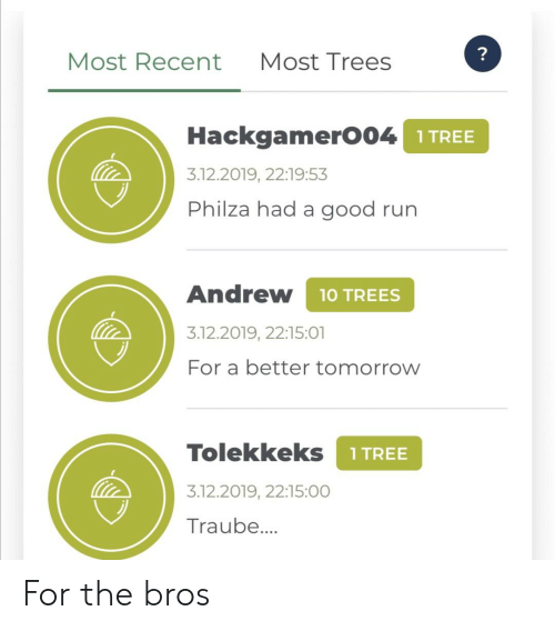 Run, Good, and Tomorrow: ?  Most Recent  Most Trees  HackgamerO04 1TREE  3.12.2019, 22:19:53  Philza had a good run  Andrew  1 TREES  3.12.2019, 22:15:01  For a better tomorrow  Tolekkeks  1 TREE  3.12.2019, 22:15:00  Traube... For the bros