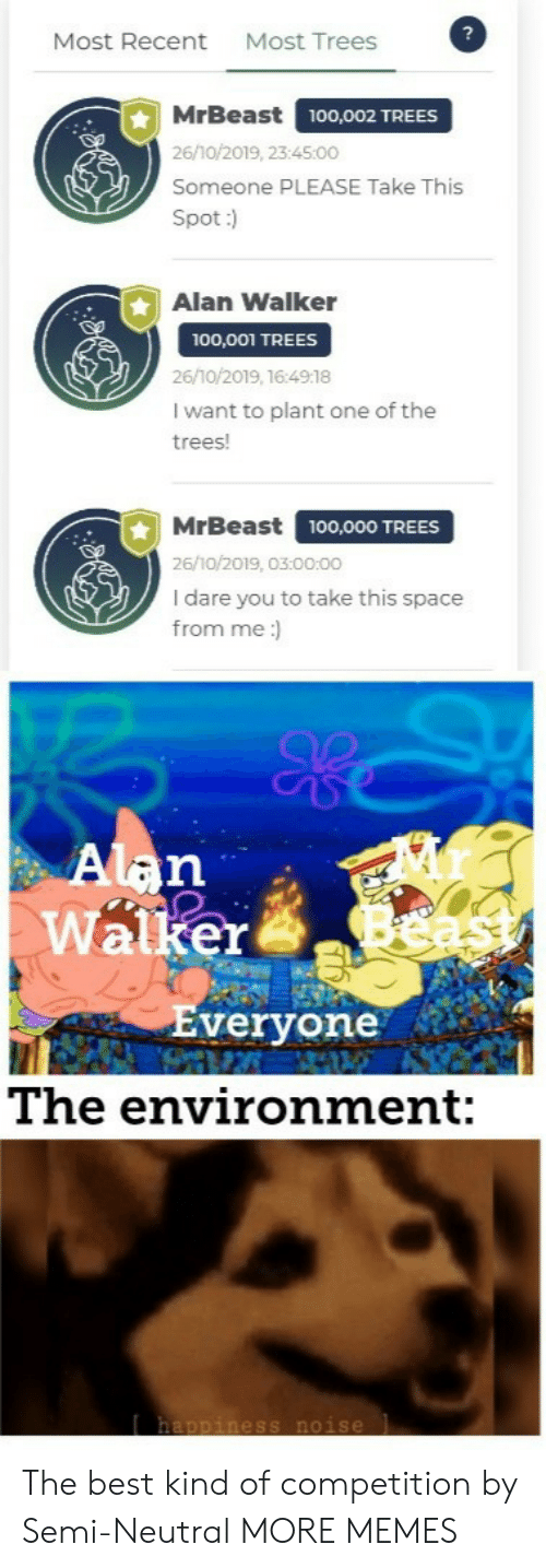semi: Most Trees  Most Recent  MrBeast  100,002 TREES  26/10/2019, 23:45:00  Someone PLEASE Take This  Spot:)  Alan Walker  100,001 TREES  26/10/2019, 16:4918  I want to plant one of the  trees!  MrBeast  100,000 TREES  26/10/2019, 03:00:00  I dare you to take this space  from me:  Alan  Walker  Everyone  The environment:  happiness noise The best kind of competition by Semi-Neutral MORE MEMES