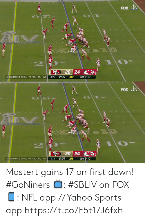fox: Mostert gains 17 on first down! #GoNiners  📺: #SBLIV on FOX 📱: NFL app // Yahoo Sports app https://t.co/E5t17J6fxh