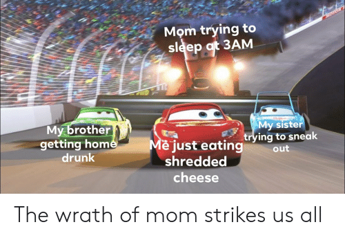 Trying To Sleep: MOTOR  Mom trying to  sleep at 3AM  My brother  getting home  drunk  My sister  trying to sneak  Me just eating  shredded  out  cheese The wrath of mom strikes us all