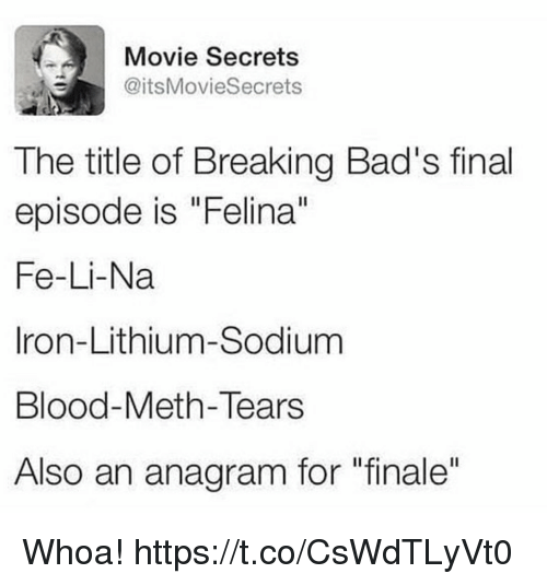 """Funny, Anagram, and Movie: Movie Secrets  @itsMovieSecrets  The title of Breaking Bad's final  episode is """"Felina""""  Fe-Li-Na  Iron-Lithium-Sodium  Blood-Meth-Tears  Also an anagram for """"finale"""" Whoa! https://t.co/CsWdTLyVt0"""