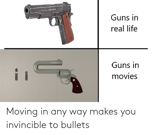 moving in: Moving in any way makes you invincible to bullets