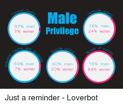 3 women: mpa D  97% men  3 women  ths and  93% men  7% women  Male  Privilege  80% men  20% women  cide  76% men  24% women  of Custo  16% men  84% women Just a reminder - Loverbot