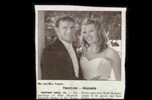 Girls, Hookers, and Marriage: Mr. and Mrs. Trayler  TRAYLOR HOOKER  Fower girls were Mally Hamann  NEWPORT NDws  marriage ol Miss Maurven sin d the groom and Kara  Elrabth Hocker to Mr. S  Mathes