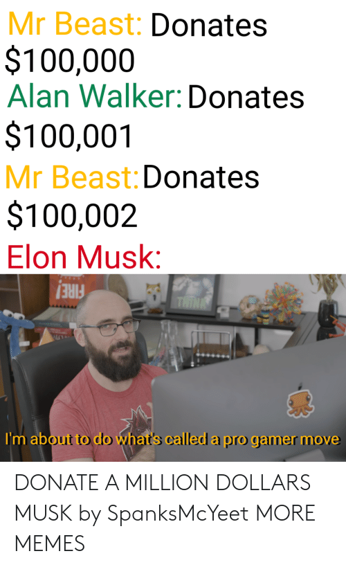 alan: Mr Beast: Donates  $100,000  Alan Walker: Donates  $100,001  Mr Beast: Donates  $100,002  Elon Musk:  FIRE!  I'm about to do what's called a pro gamer move DONATE A MILLION DOLLARS MUSK by SpanksMcYeet MORE MEMES