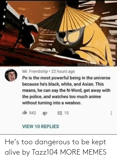 Asian: Mr. Friendship · 22 hours ago  Po is the most powerful being in the universe  because he's black, white, and Asian. This  means, he can say the N-Word, get away with  the police, and watches too much anime  without turning into a weaboo.  a 10  542  VIEW 10 REPLIES He's too dangerous to be kept alive by Tazz104 MORE MEMES